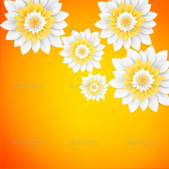 GraphicRiver Paper Flowers Postcard 5893267