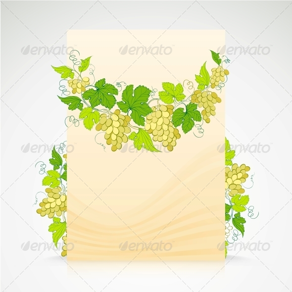 Wine List Design with Grapes Decoration.