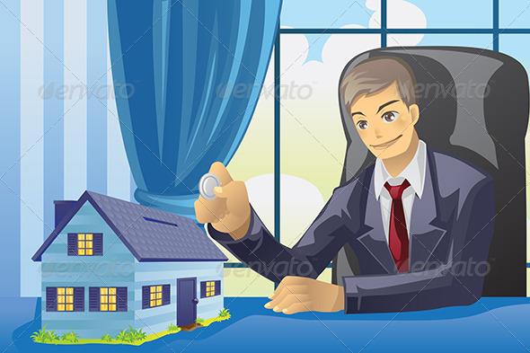 GraphicRiver Businessman Saving Money 5893372