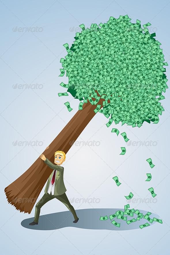 GraphicRiver Businessman Lifting Money Tree 5893417