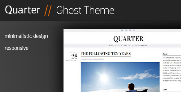 ThemeForest Quarter Responsive Ghost Theme 5893181