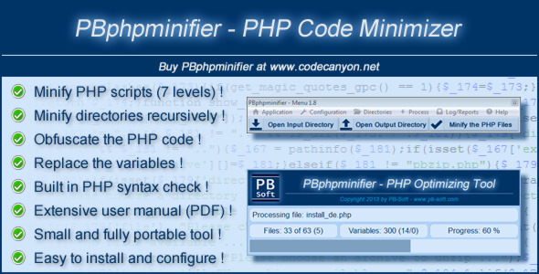 CodeCanyon PBphpminifier PHP Code Minimizer 5893869