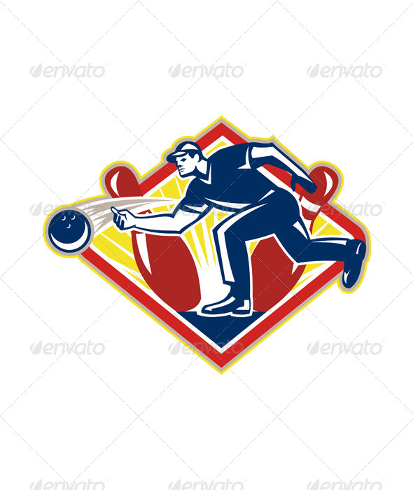 GraphicRiver Bowler Bowling Ball Pins Side Retro 5894156