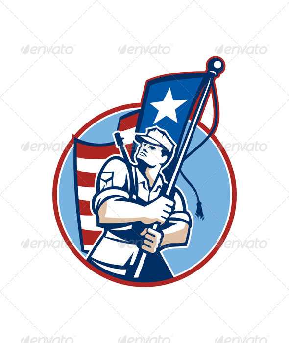 GraphicRiver American Patriot Serviceman Soldier Flag Retro 5894168