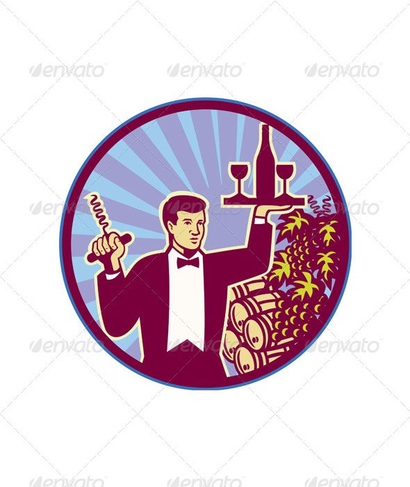 GraphicRiver Waiter Serving Wine Glass Bottle Retro 5894182