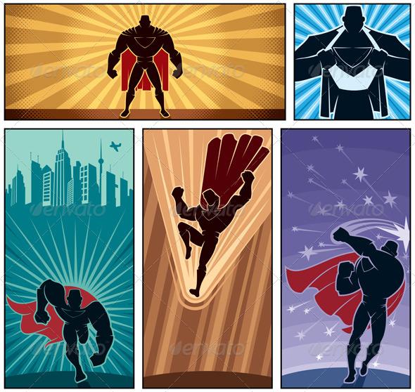 Superhero Banners 2 - Characters Vectors