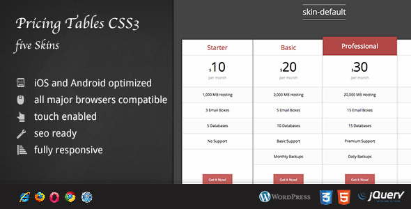 CSS Pricing Tables Five Skins DZS - CodeCanyon Item for Sale