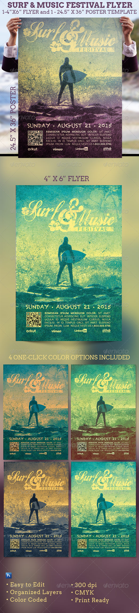 Surf and Music Festival Flyer and Poster Template  - Events Flyers