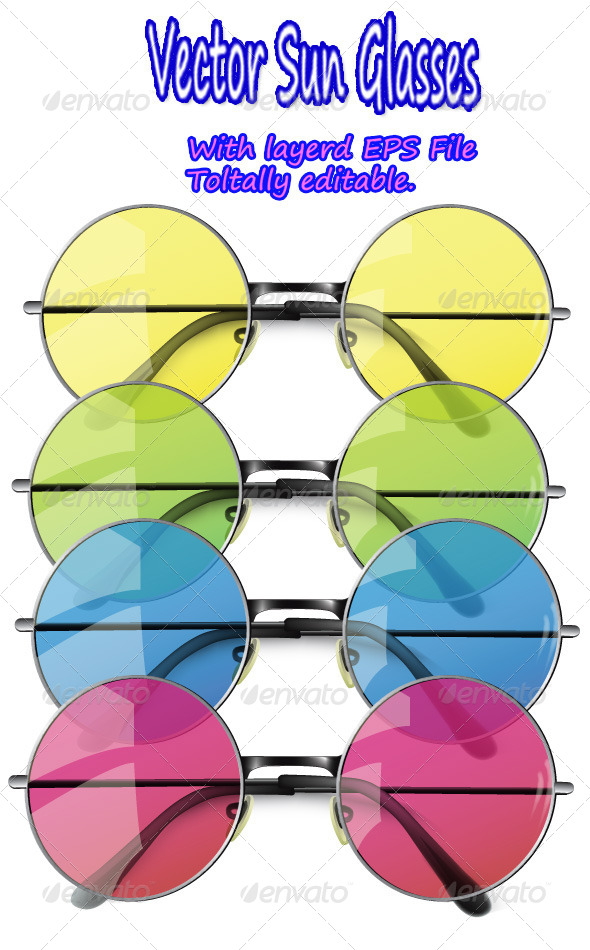 GraphicRiver Summer Sun Glasses Isolated on White 5890665