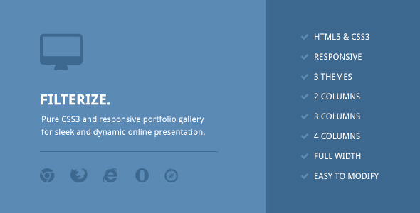 Download Filterize. Responsive CSS3 Portfolio Gallery nulled download