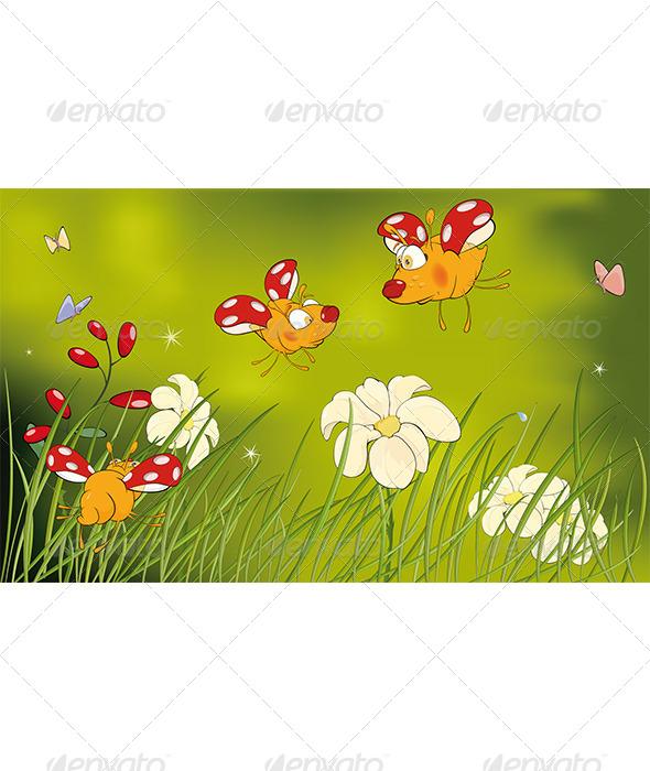 Ladybirds and Flower Glade Cartoon