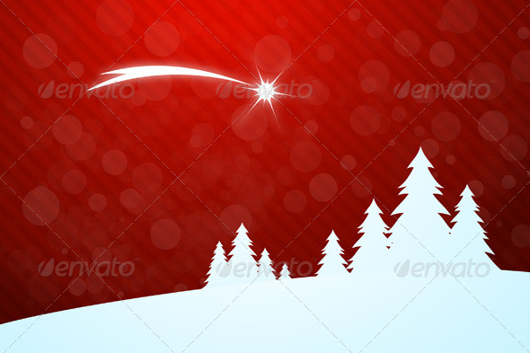 Christmas Greeting Card with Star - Christmas Seasons/Holidays