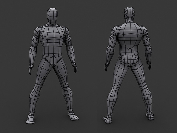 Human Comics Male - Low Poly Base Mesh  - 3DOcean Item for Sale