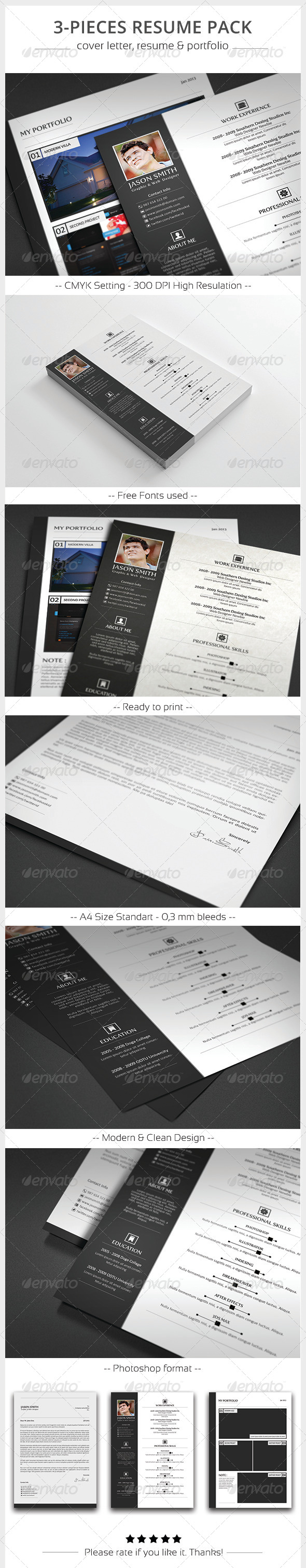 GraphicRiver 3-Pieces Resume Pack 5866894