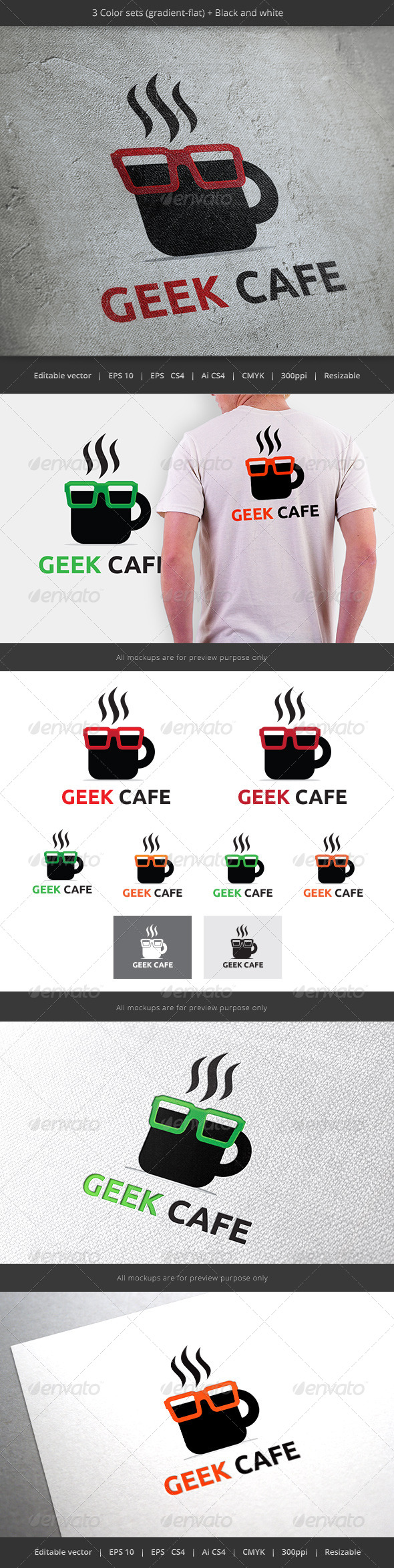 GraphicRiver Geek Cafe Coffee Logo 5897520