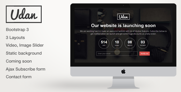 ThemeForest Udan Responsive Coming Soon page Template 5897746