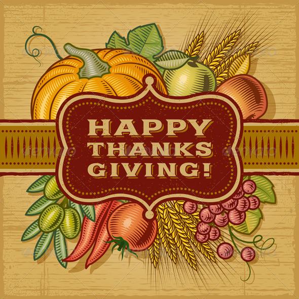 GraphicRiver Happy Thanksgiving Retro Card 5897780