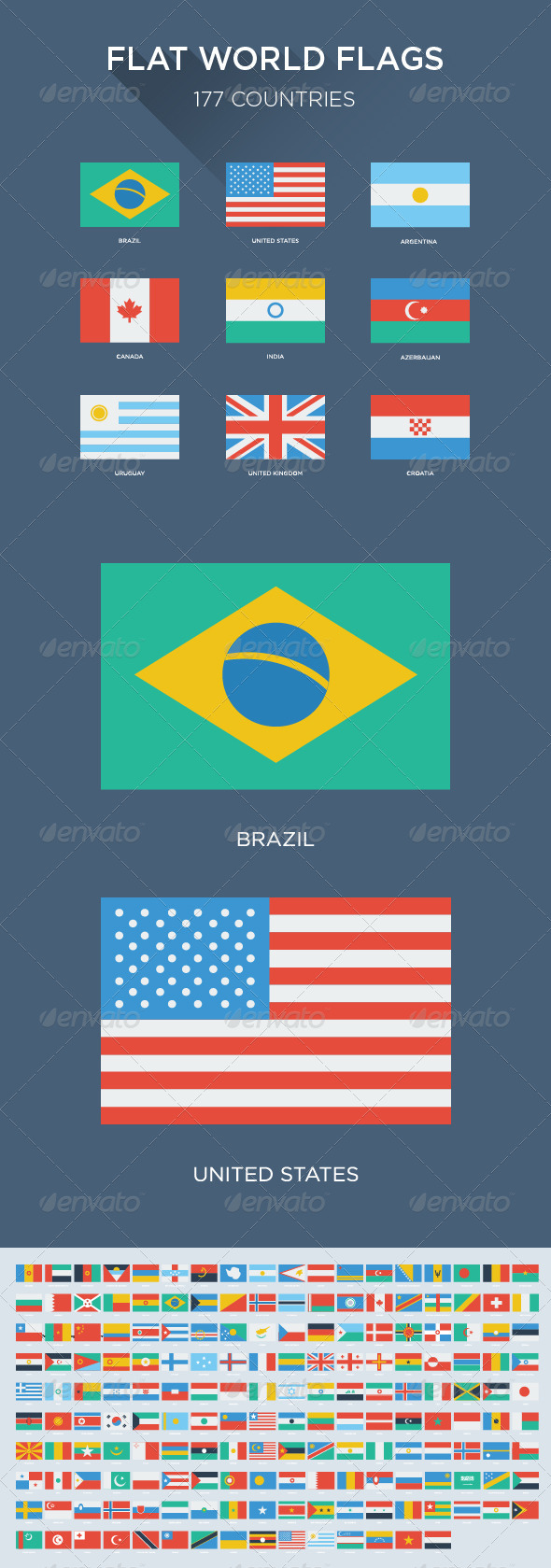 GraphicRiver 177 Flat World Flags 5897256