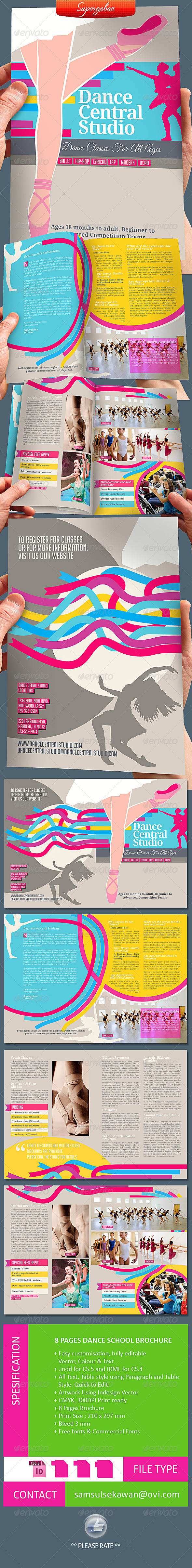 GraphicRiver 8 Pages Dance School Brochure 5869454