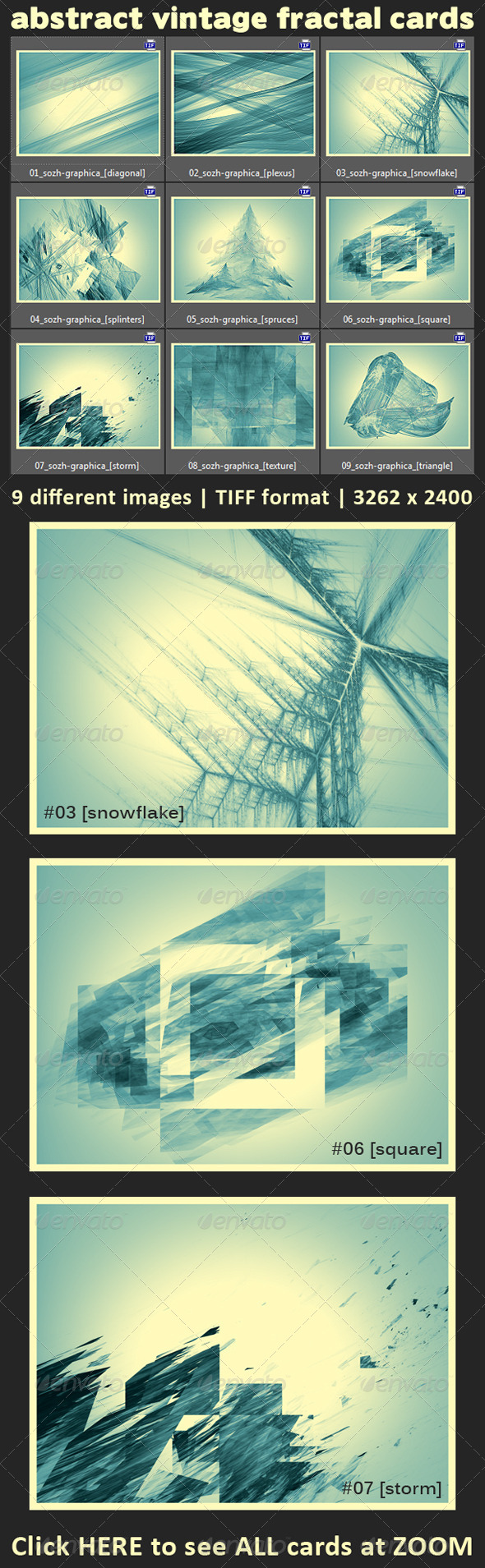 GraphicRiver 9 Abstract Fractal Vintage Cards 5898409