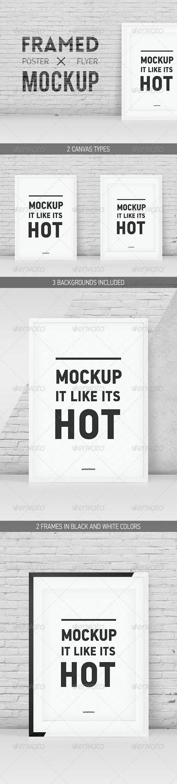 GraphicRiver Minimalistic Framed Poster Flyer Mockup 5852256
