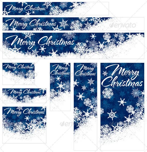 GraphicRiver Snowflakes Christmas Web Banners 5898814