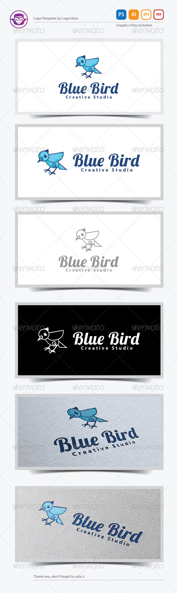 GraphicRiver Blue Bird Logo Template 5898818