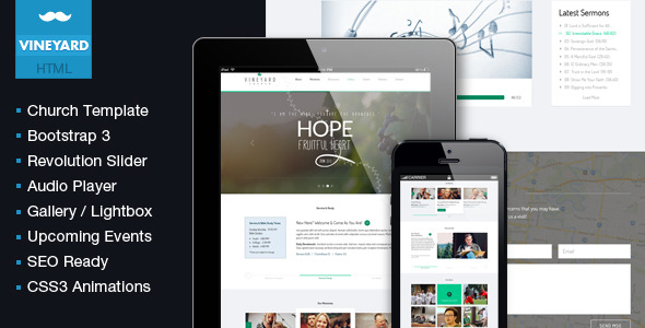 Vineyard Church - One Page Responsive Religious