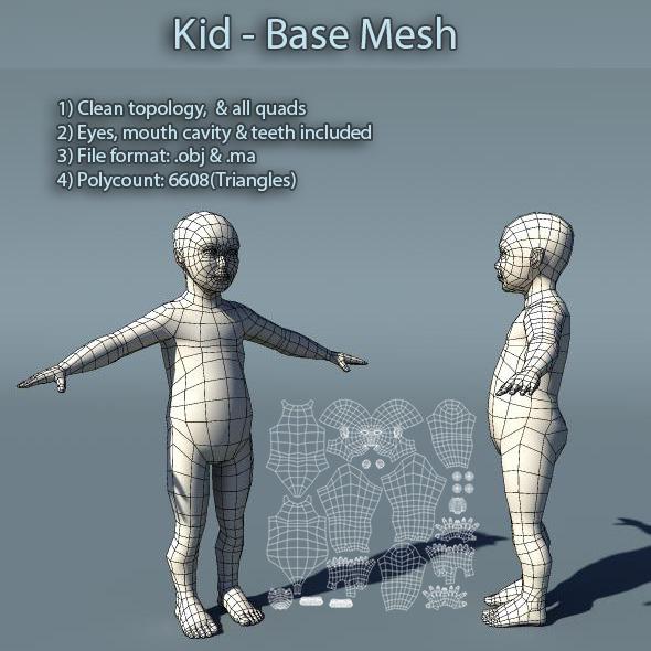 3DOcean Kid Low Poly Base Mesh 5899367
