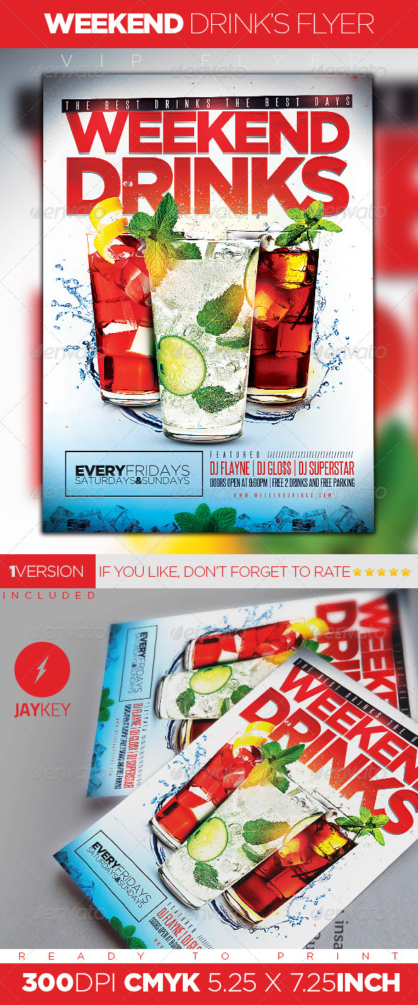 GraphicRiver Weekend Drinks Flyer 5899392