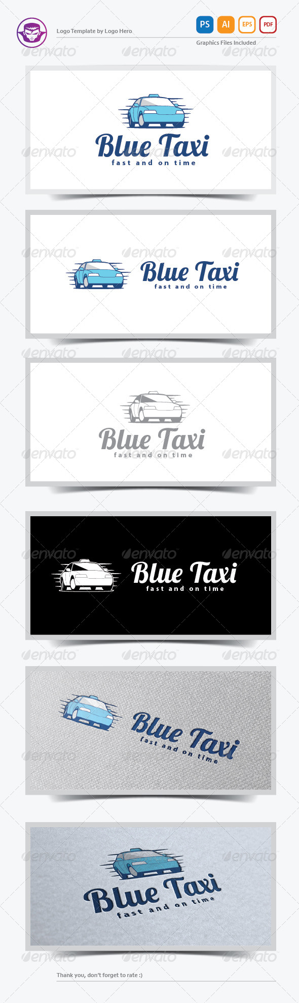 Blue Taxi Logo Template