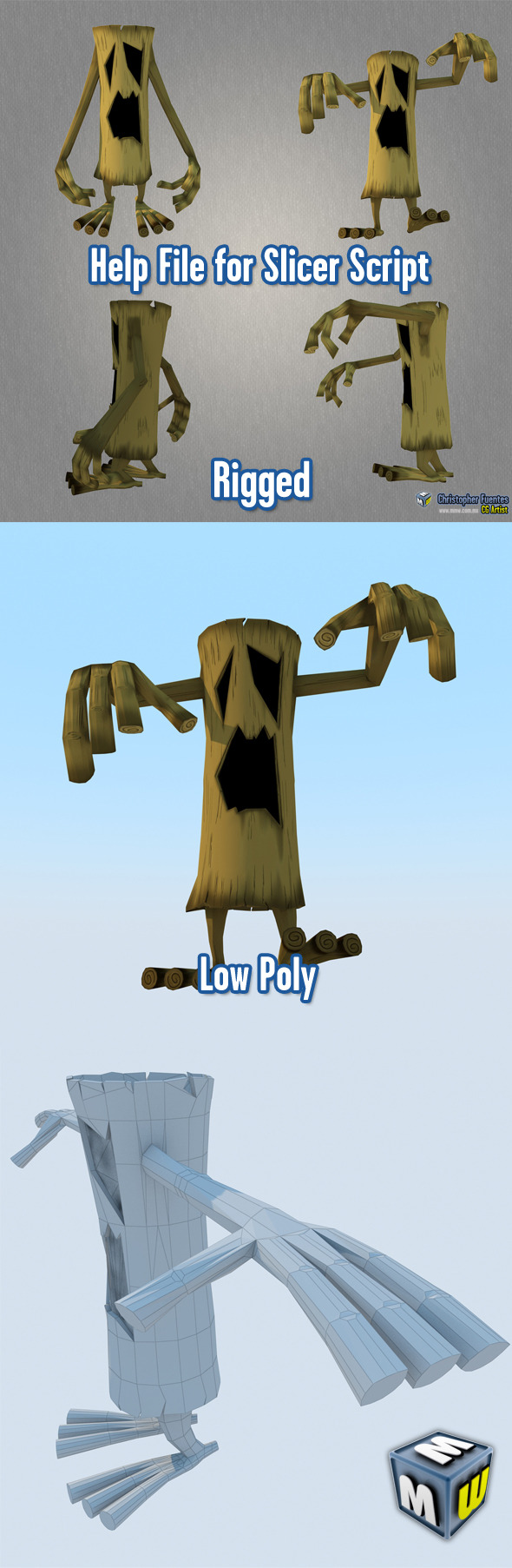 3DOcean TreeMonster Low Poly Character MAX 2011 5899447