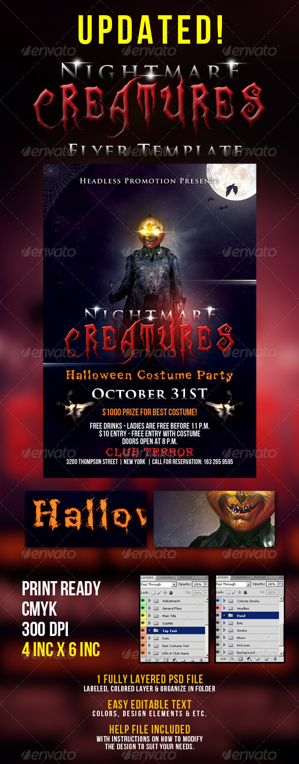 GraphicRiver Nightmare Creature Flyer Template 5870861