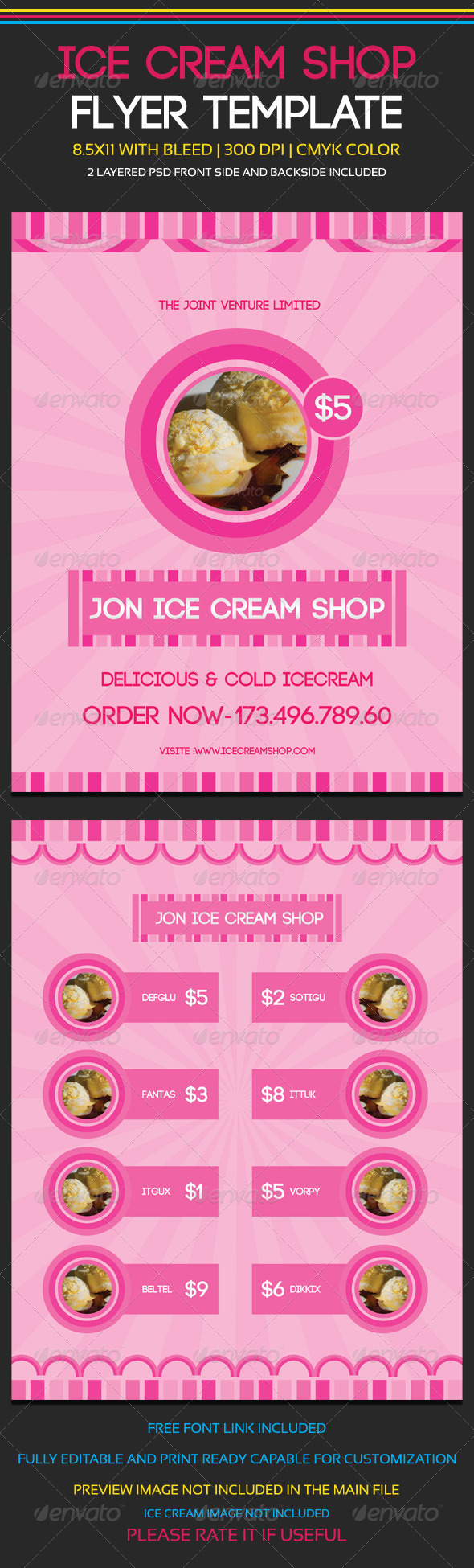 GraphicRiver Ice Cream Shop Flyer Template 5899564