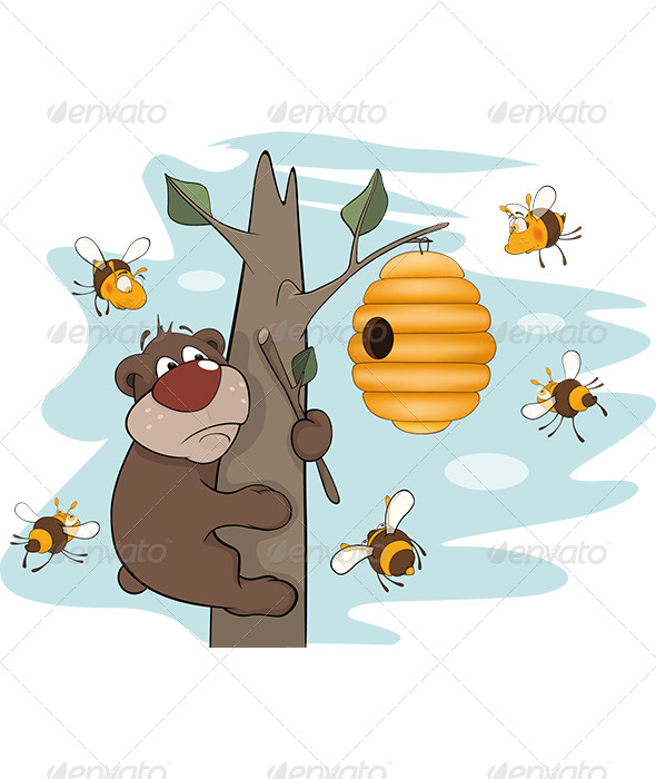 Bear Cub and Bees Cartoon