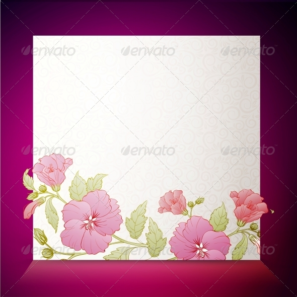 GraphicRiver Vintage Hibiscus Flower on White Background 5899661