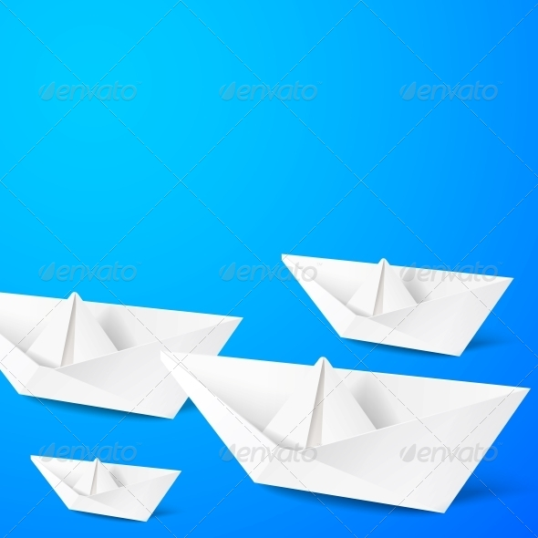GraphicRiver Paper Boat on Blue Background 5899734