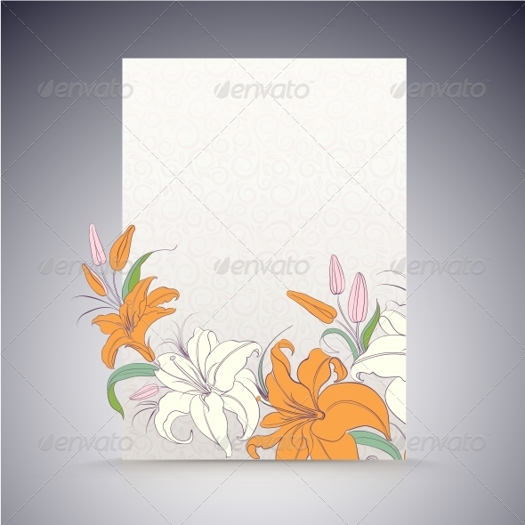 GraphicRiver Lily on a Sheet of Paper 5899747
