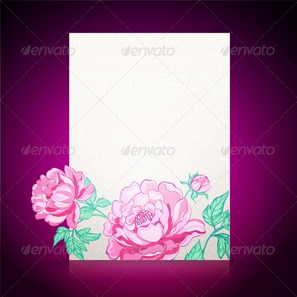 GraphicRiver Card Background from Peonies 5899764