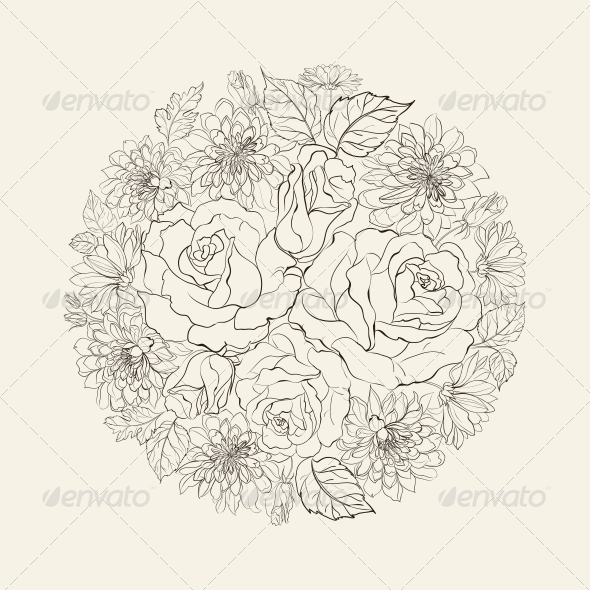 GraphicRiver Hand Drawn Bouquet of Roses 5899775