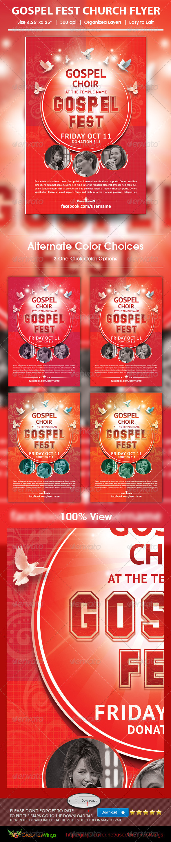 GraphicRiver Gospel Fest Church Flyer Template 5900090