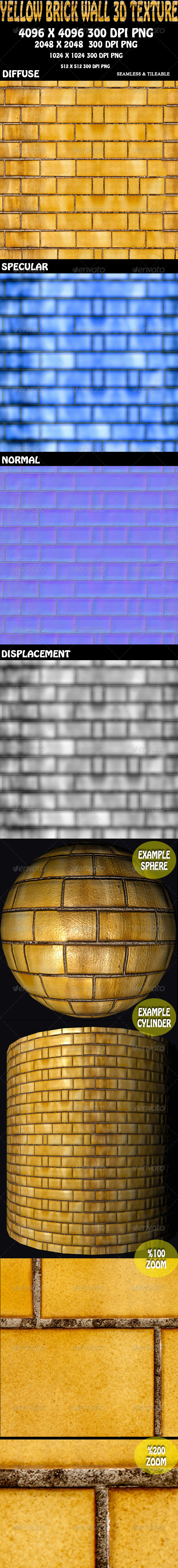 Yellow Brick Wall 3D Texture - 3DOcean Item for Sale