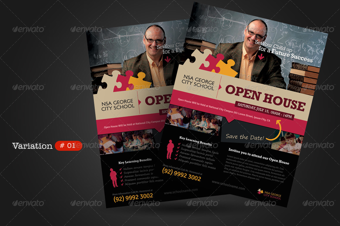 School Open House Flyers by kinzi21 | GraphicRiver