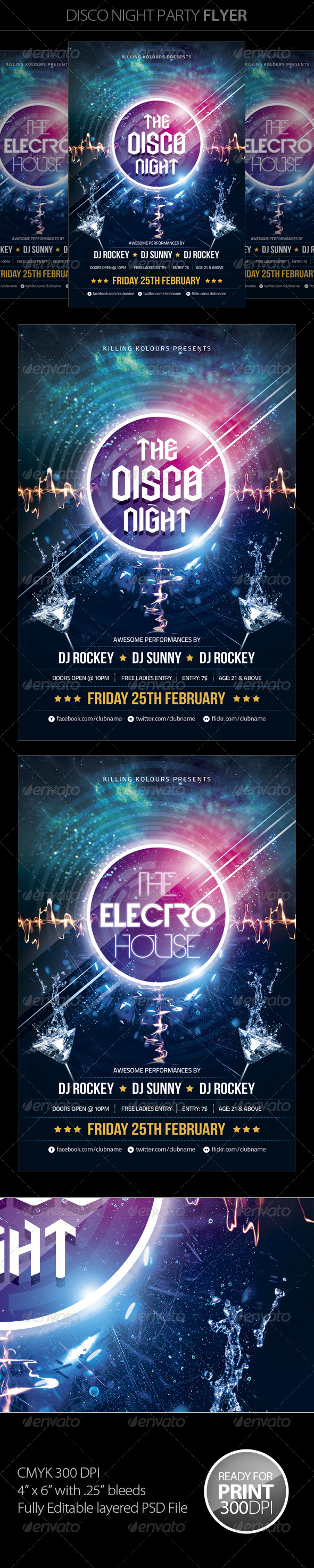 GraphicRiver Disco Night Party Flyer 5900557