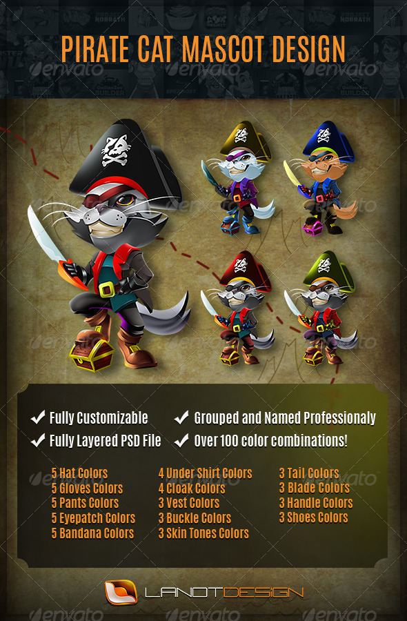 GraphicRiver Mascot Design Pirate Cat 5900603
