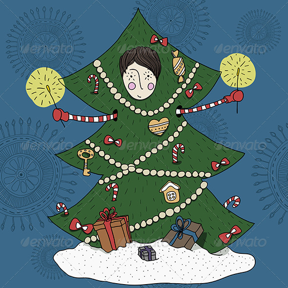 GraphicRiver Boy in a Christmas Tree Costume 5901535