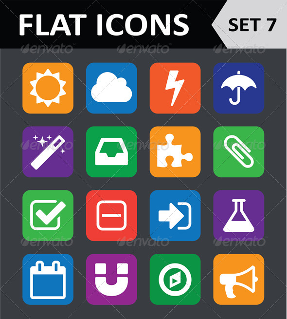 Universal Colorful Flat Icons Set 7