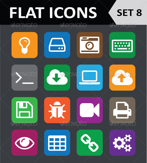GraphicRiver Universal Colorful Flat Icons Set 8 5901822