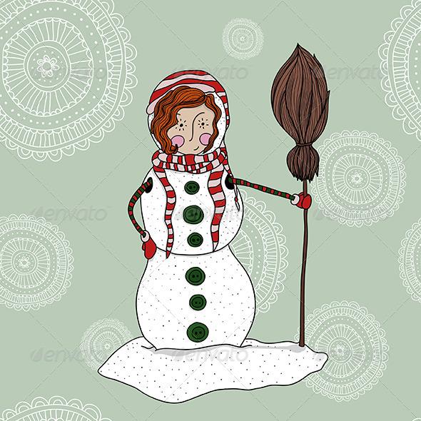 GraphicRiver Girl in a Snowman Costume 5901825