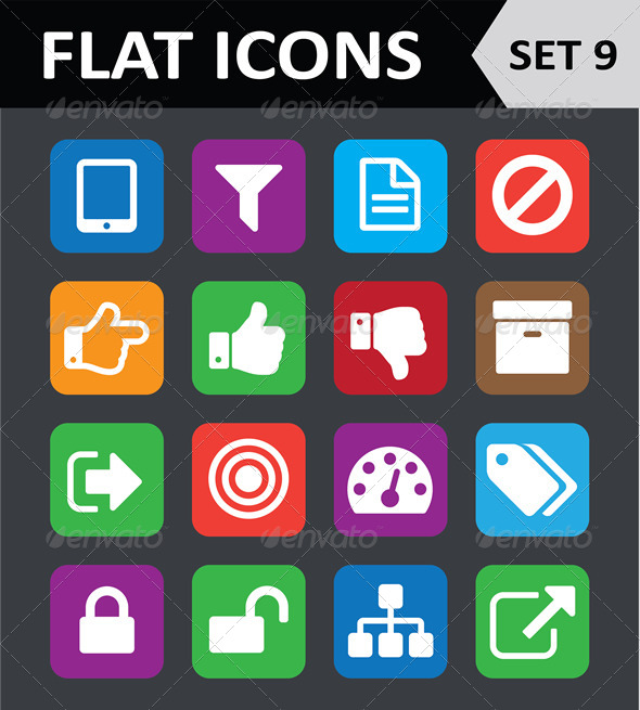 GraphicRiver Universal Colorful Flat Icons Set 9 5901828